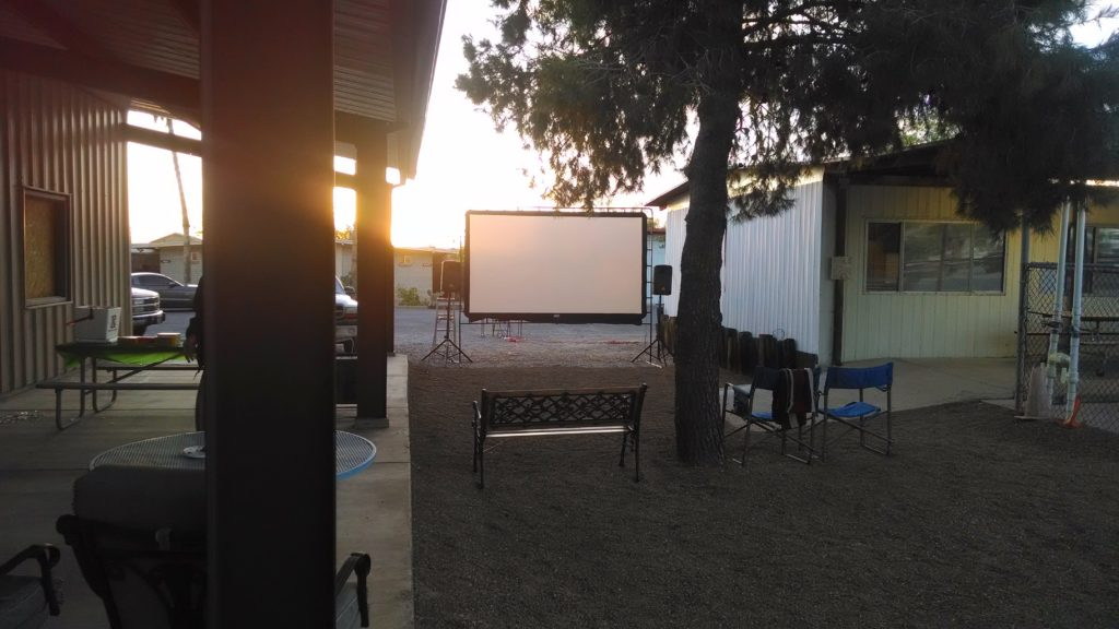 Our very first outdoor movie with 12' screen.