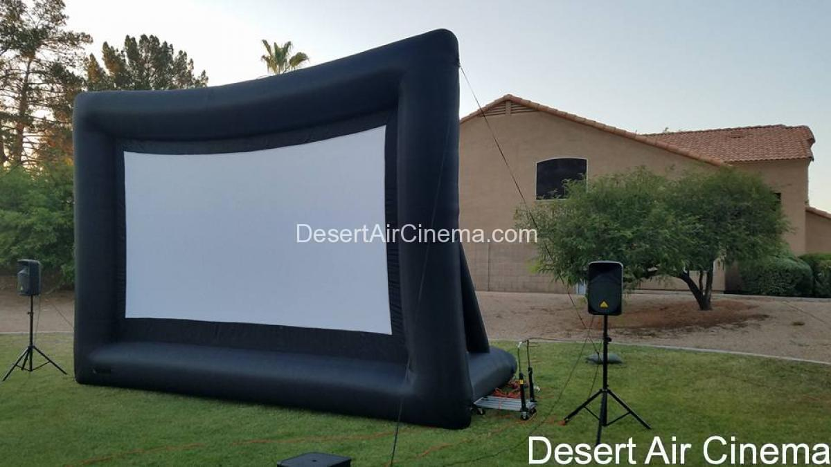 outdoor cinema service silver screen package desert air cinema